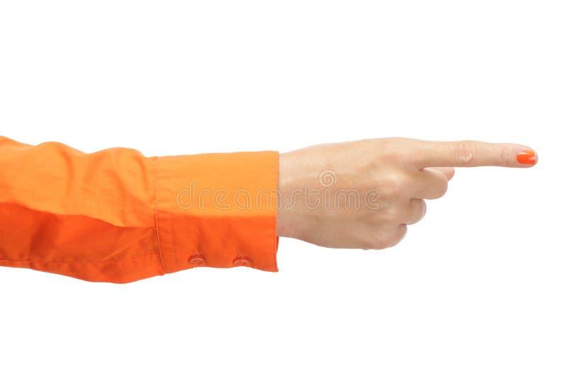 Żeńska ręka w pomarańczowej koszula zdjęcia royalty free