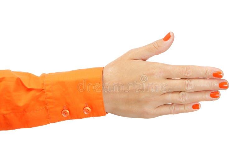 Żeńska ręka w pomarańczowej koszula obrazy royalty free