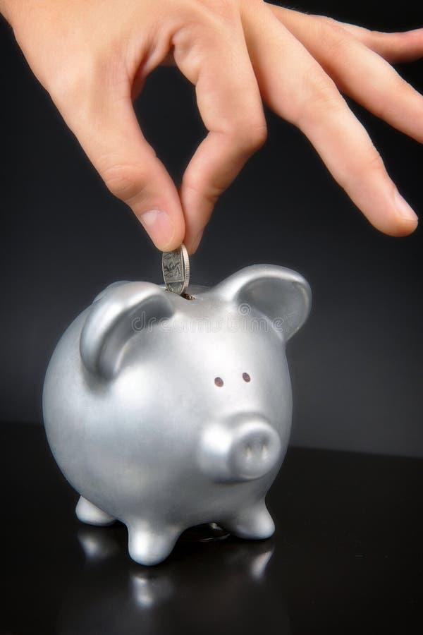 Żeńska ręki kładzenia moneta w prosiątko banku obraz stock