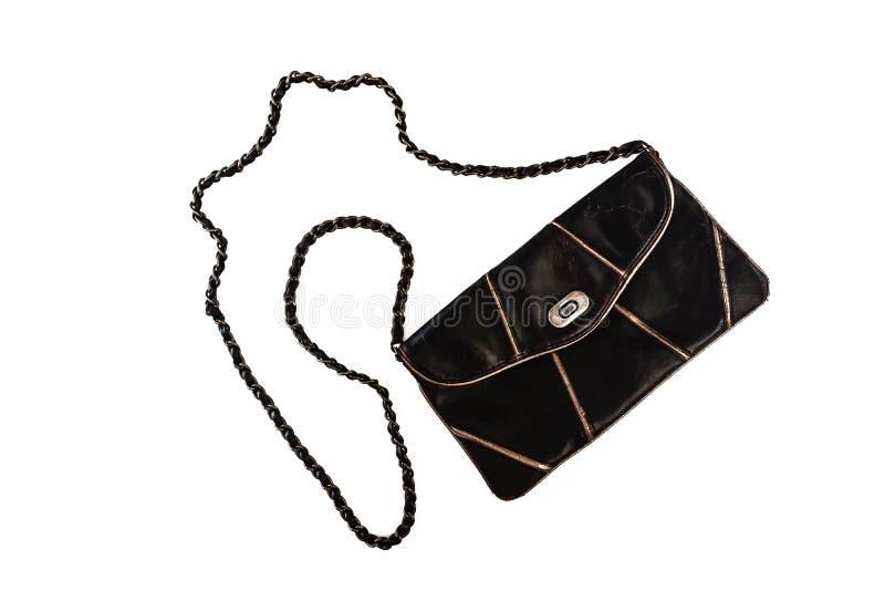 Żeńska sprzęgłowa torba na długim łańcuchu, odosobnionym na biali półdupki zdjęcia stock