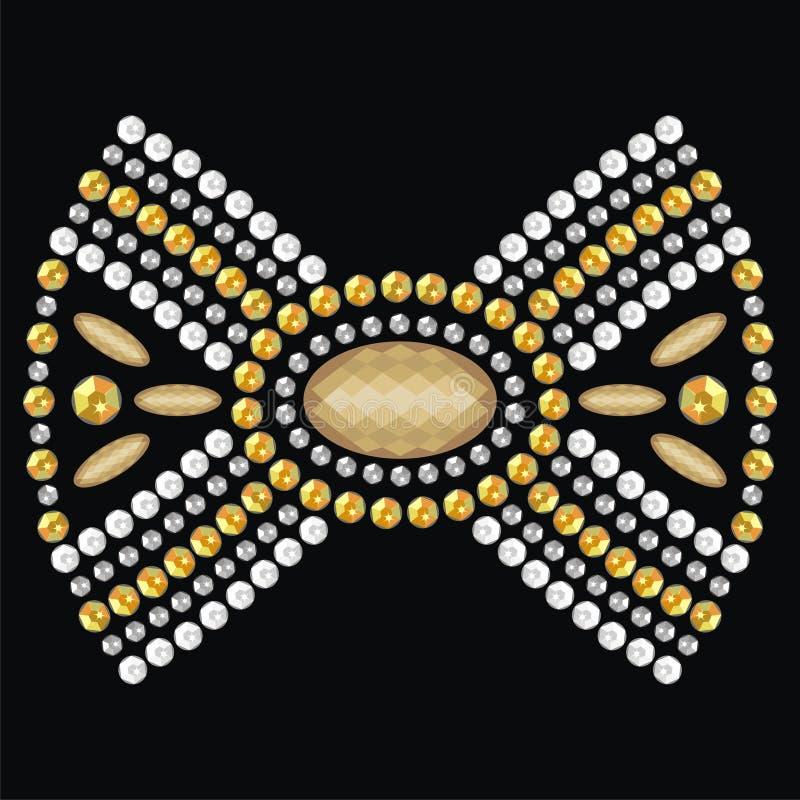 Żeński łęk od brylantów kamieni dekorujący złoto i srebro medalion, klajstruje biżuterię, broszki, breloczki ilustracja wektor