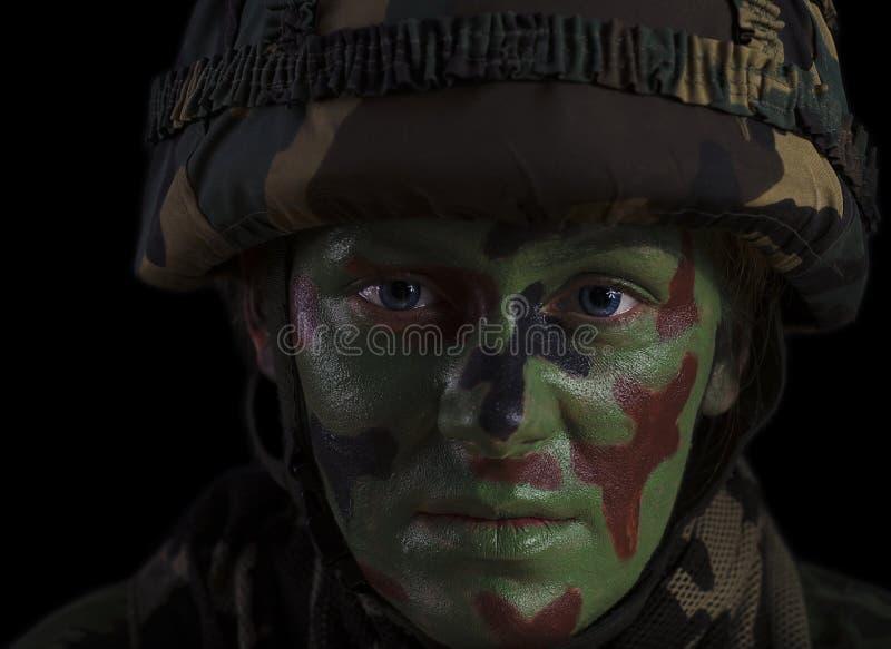 Żeńska żołnierz twarz fotografia stock