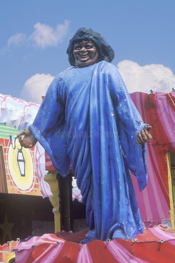 Żeński afroamerykański wizerunek na pławiku w ostatki paradzie, Nowy Orlean, Luizjana obraz stock