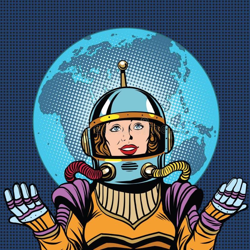 Żeński astronauta, symbol życie na planety ziemi royalty ilustracja
