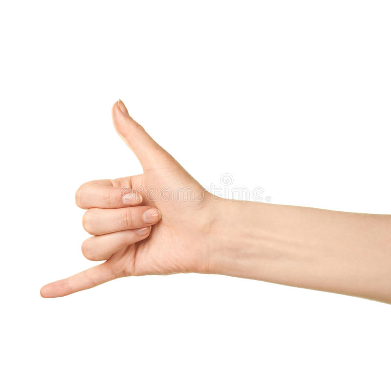 Żeński caucasian ręka gest odizolowywający zdjęcie stock