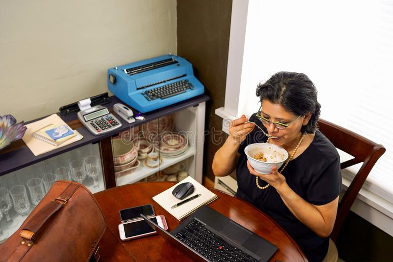 Żeński dziecka wyżu demograficznego Telecommuting Pracować obraz stock