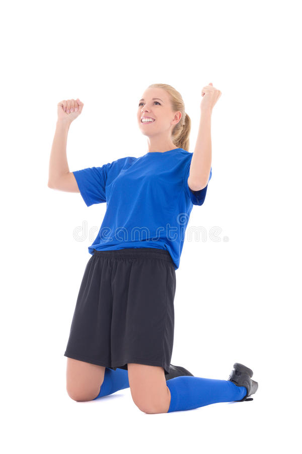 Żeński gracz piłki nożnej w błękita munduru odświętności celu odizolowywał o fotografia stock