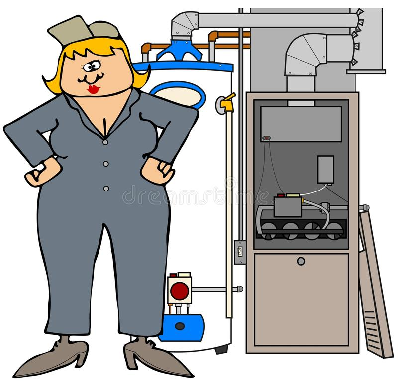 Żeński HVAC technik ilustracja wektor