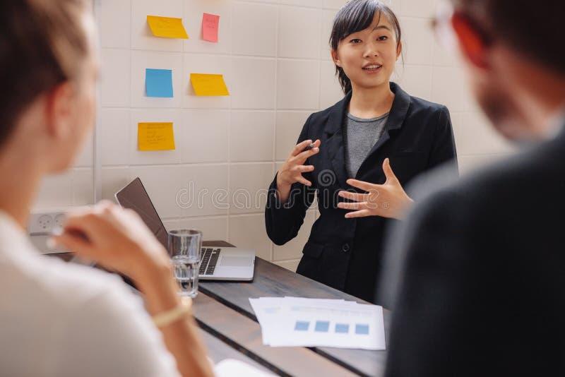 Żeński kierownictwo wyjaśnia nowego biznesowego pomysł koledzy zdjęcia stock