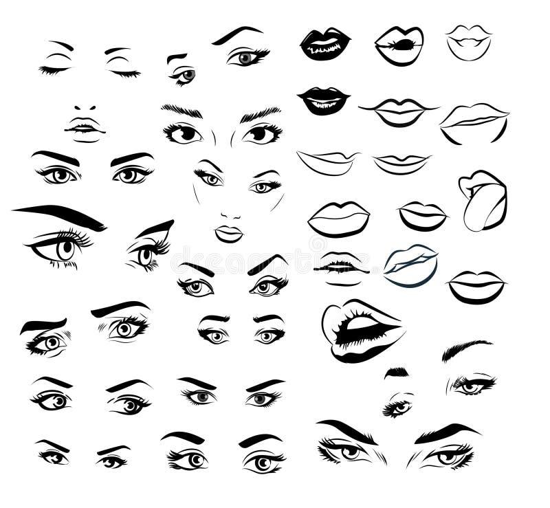 Żeński kobiet warg i oczu wizerunku kolekci set Mody dziewczyny oczu projekt również zwrócić corel ilustracji wektora ilustracja wektor