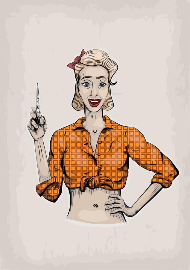 Żeński kobiety dziewczyny coiffeuse, fryzjer, fryzjer męski, beautician ilustracji