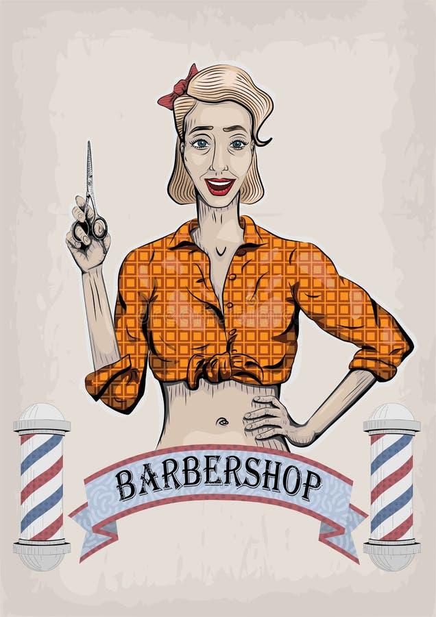 Żeński kobiety dziewczyny damy fryzjer, fryzjer męski, beautician royalty ilustracja