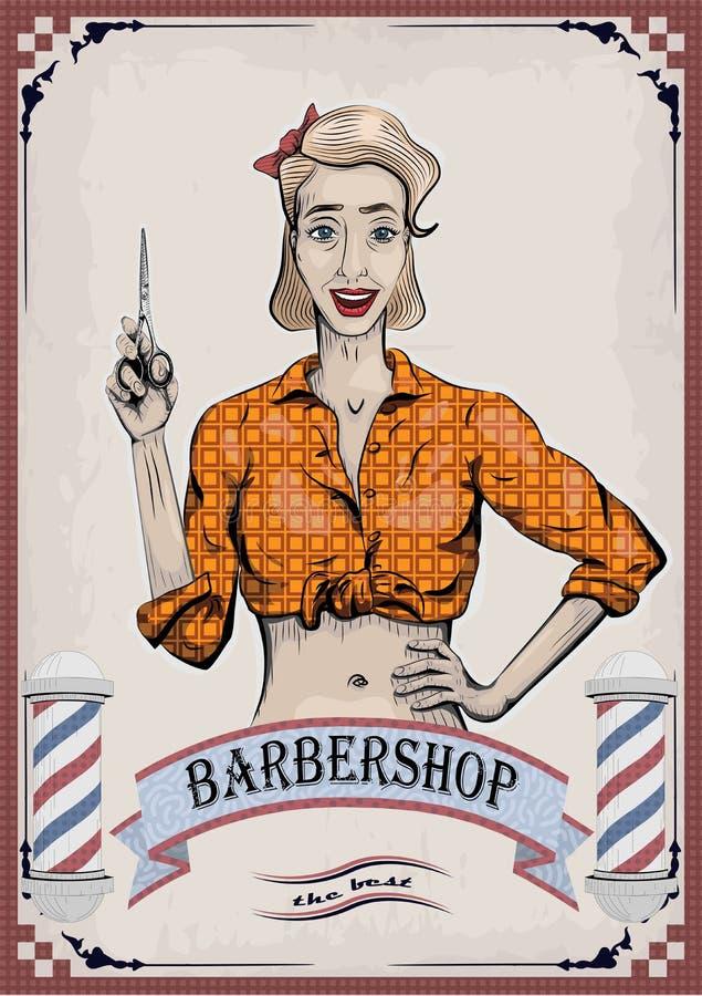 Żeński kobiety dziewczyny damy fryzjer, fryzjer męski, beautician z ilustracja wektor
