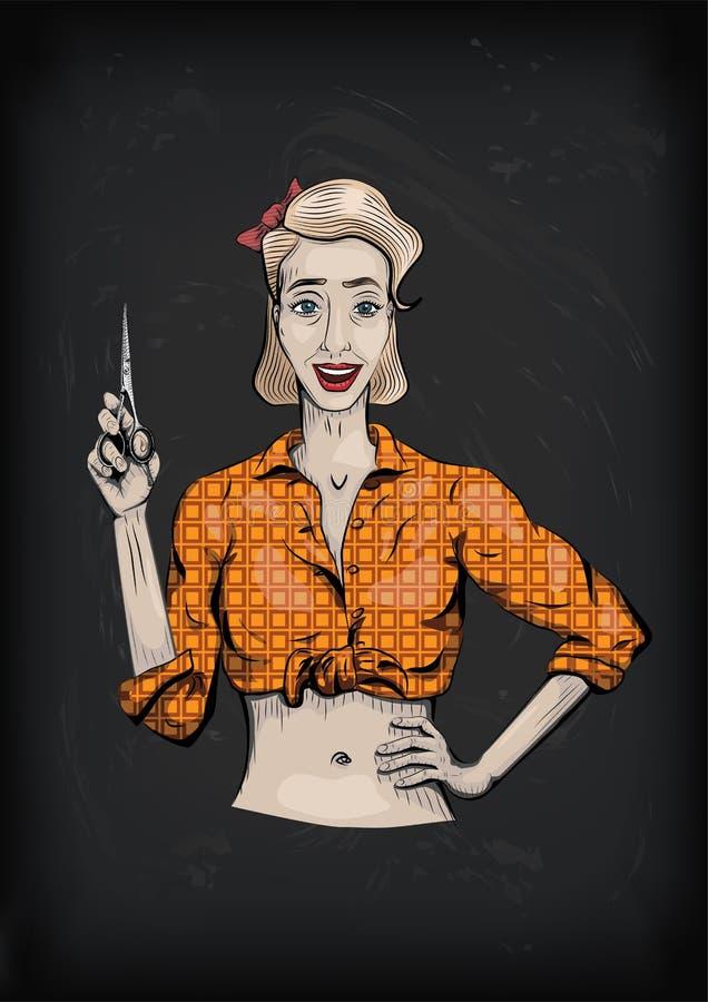 Żeński kobiety dziewczyny damy fryzjer, fryzjer męski z nożycami, strzyżenie, royalty ilustracja