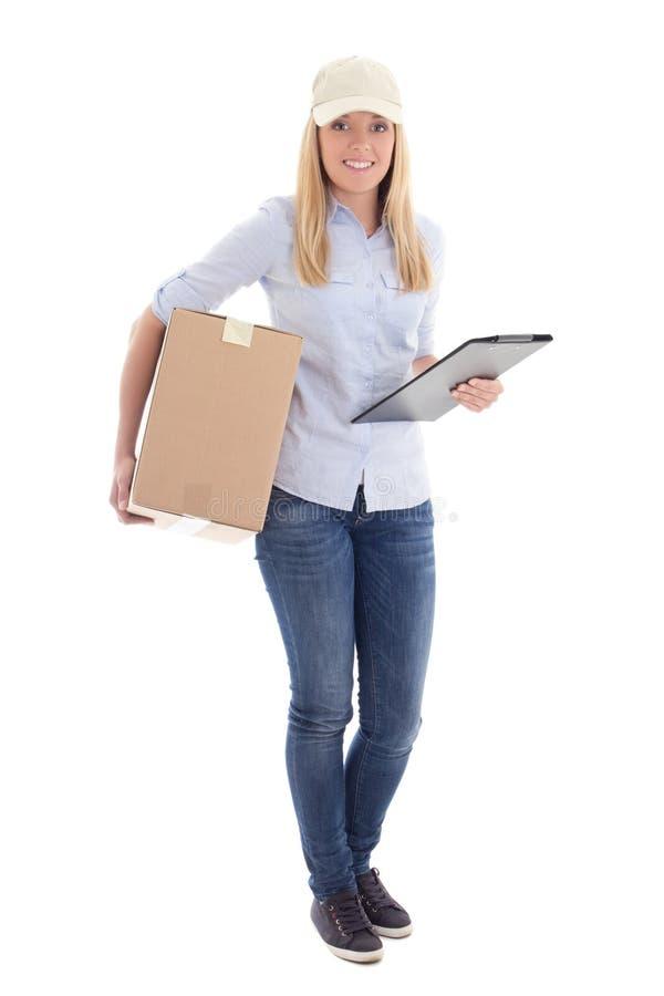 Żeński kurier z carboard pudełkiem odizolowywającymi na bielu schowkiem i obraz stock