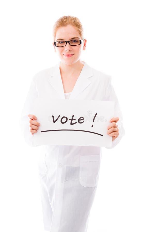 Download Żeński Naukowa Seansu Głosowania Znak Na Białym Tle Obraz Stock - Obraz złożonej z tylko, jeden: 41950037