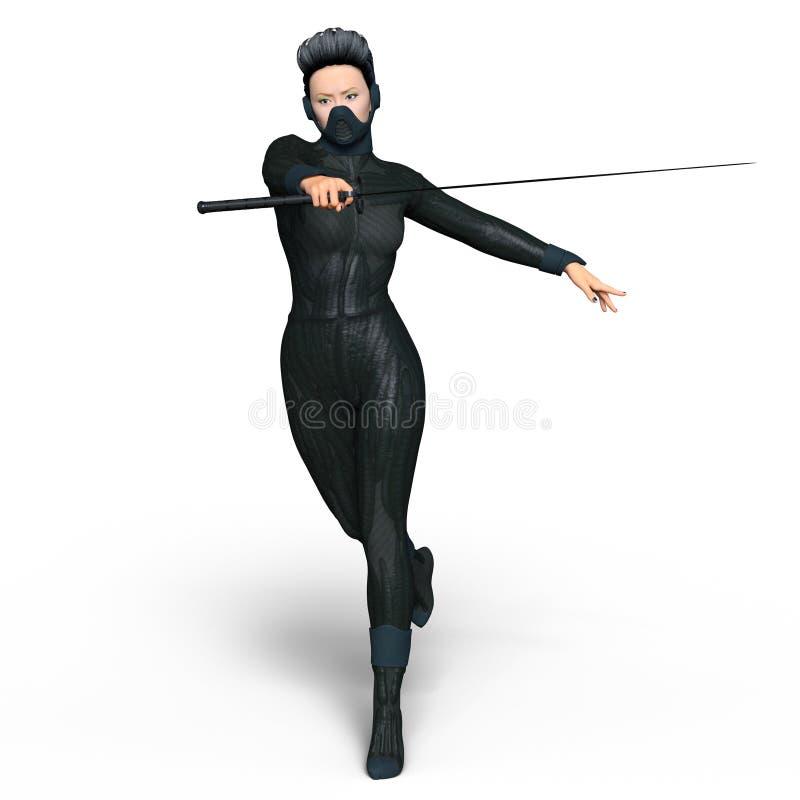 Żeński ninja royalty ilustracja