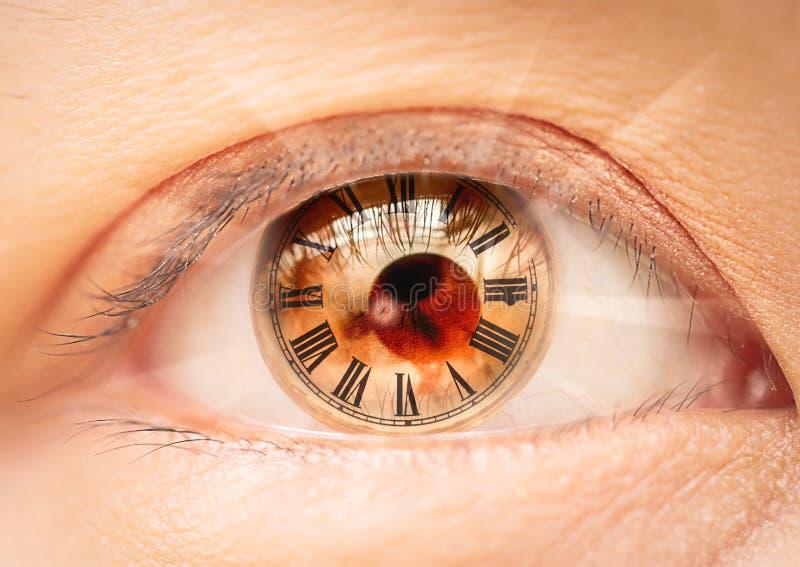 Żeński oko rzymskich liczebników życiorys zegar zdjęcie stock