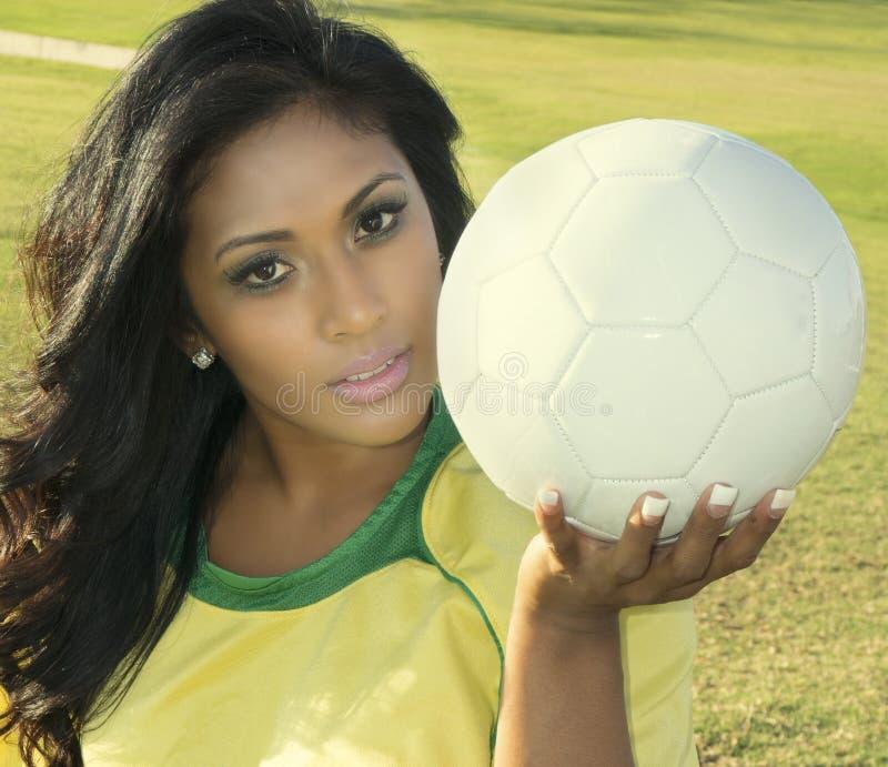 Żeński piłka nożna gracz futbolu zdjęcia stock