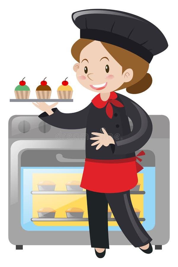 Żeński piekarz z babeczkami ilustracja wektor