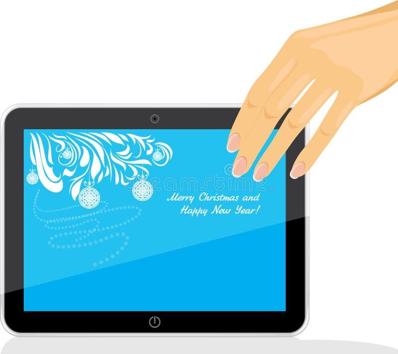 Żeński ręki mienia pastylki komputer osobisty z Bożenarodzeniowym piargiem royalty ilustracja