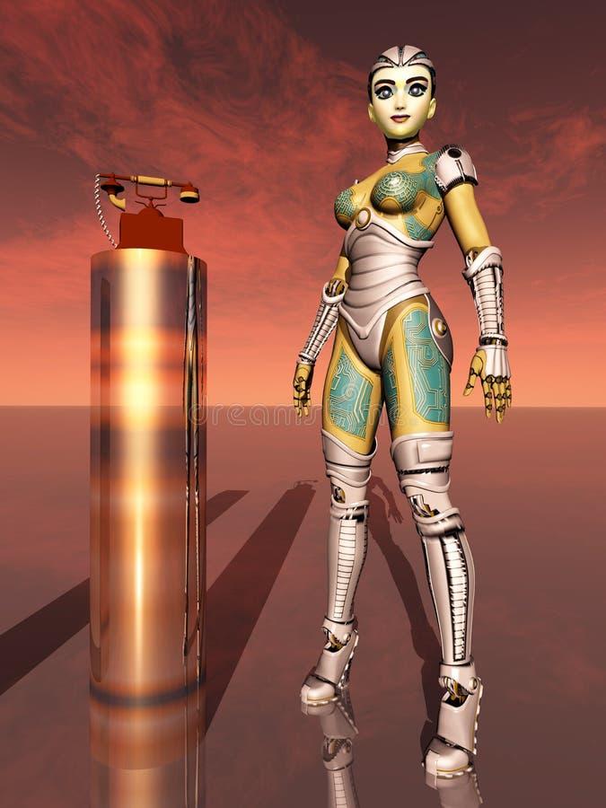 Żeński robot i telefon royalty ilustracja
