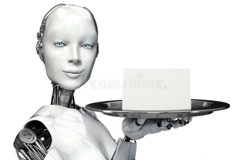 Żeński robot trzyma porci tacę z pustej karty reklamą royalty ilustracja