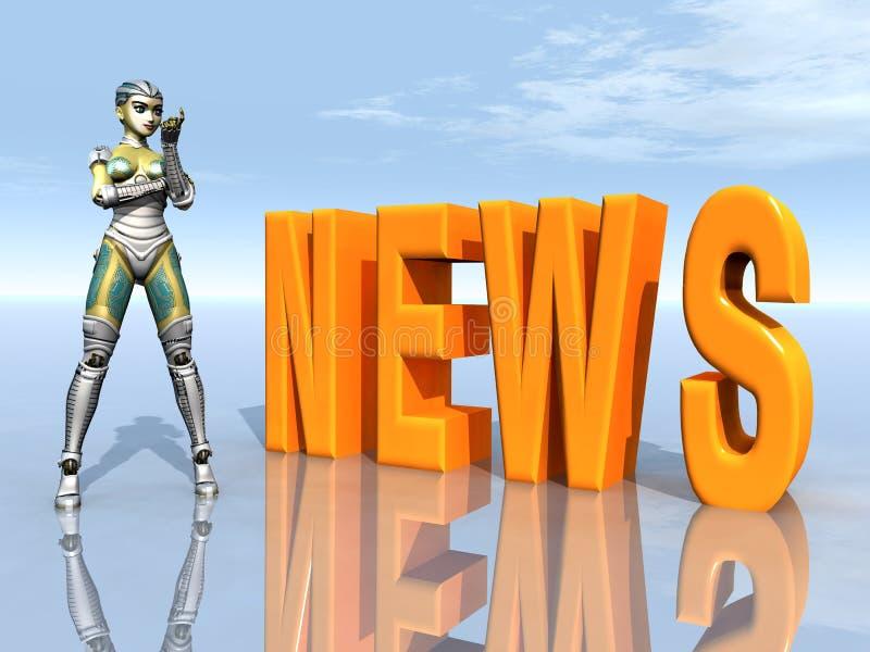 Żeński robot z słowem wiadomość ilustracji