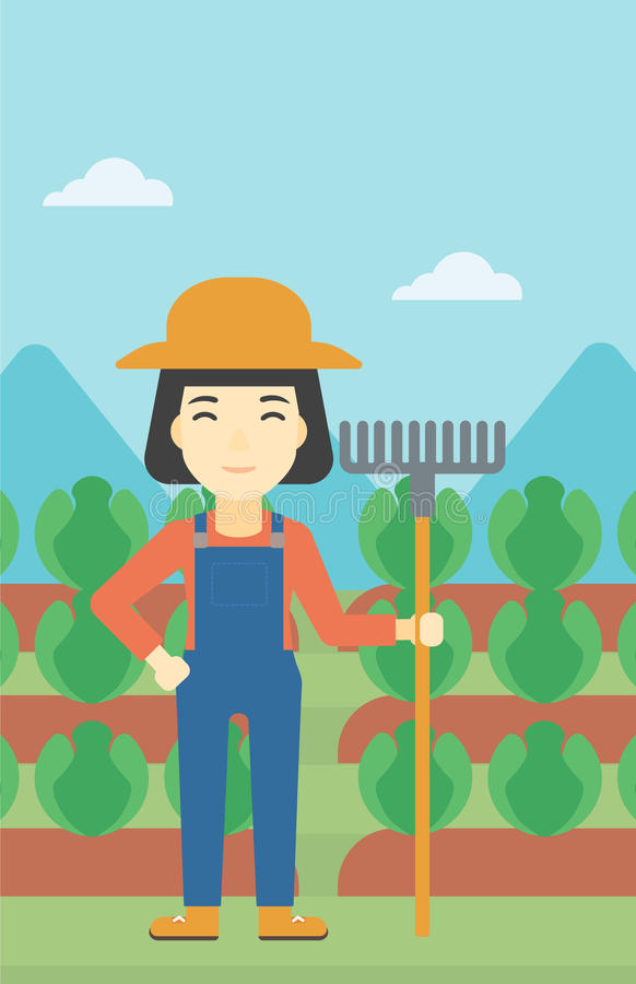 Żeński rolnik z świntucha wektoru ilustracją ilustracja wektor
