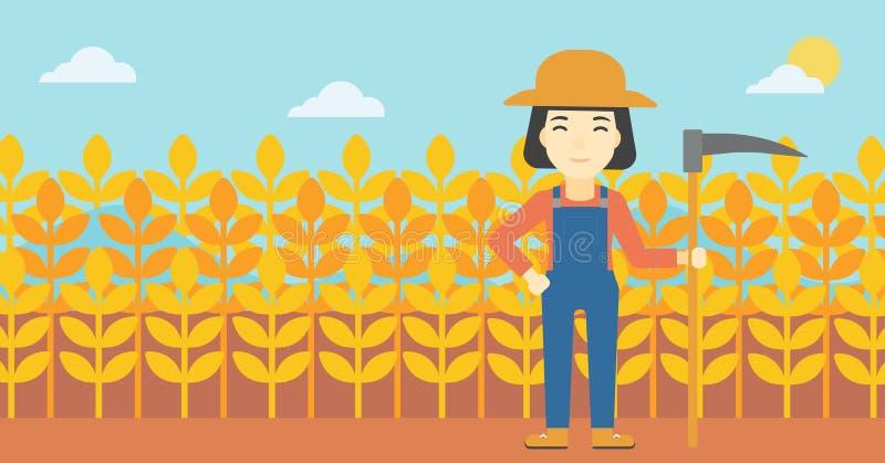 Żeński rolnik z kosa wektoru ilustracją ilustracja wektor