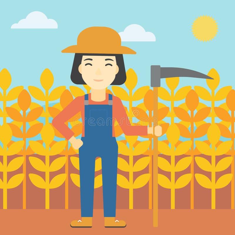 Żeński rolnik z kosa wektoru ilustracją ilustracji