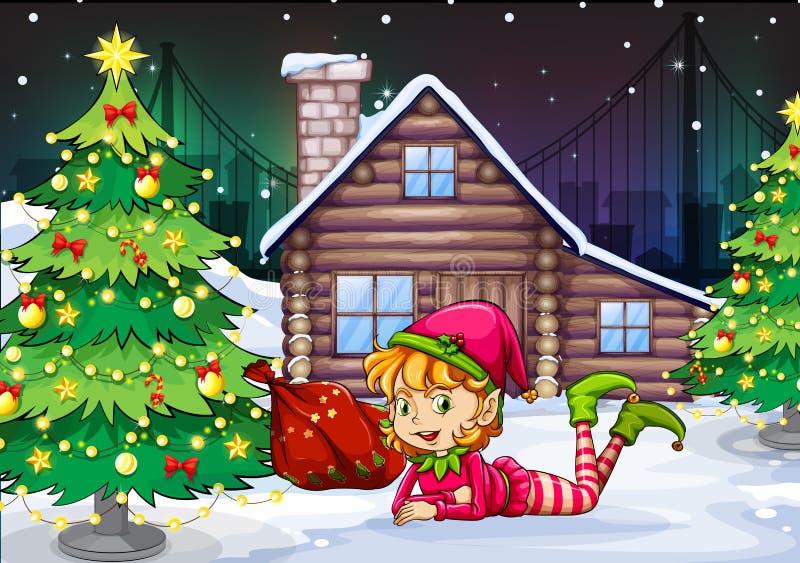 Żeński Santa elf blisko choinki royalty ilustracja