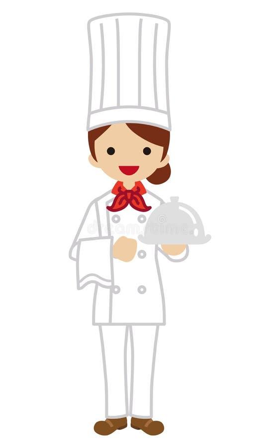 Żeński szef kuchni ilustracja wektor