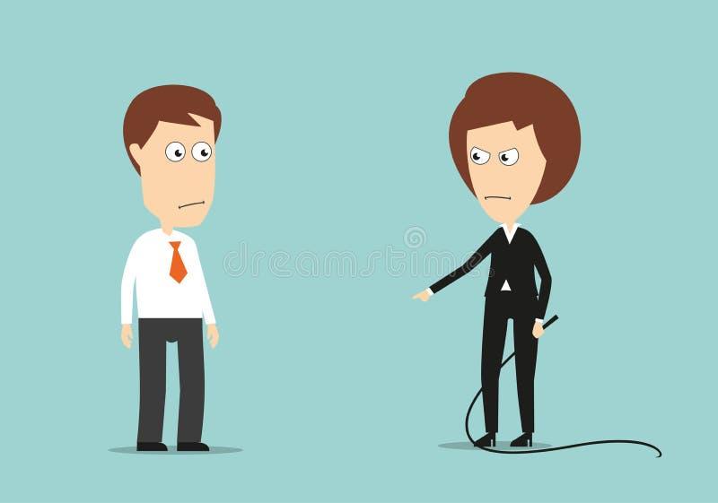 Żeński szef trenuje gnuśnego pracownika z batem ilustracji