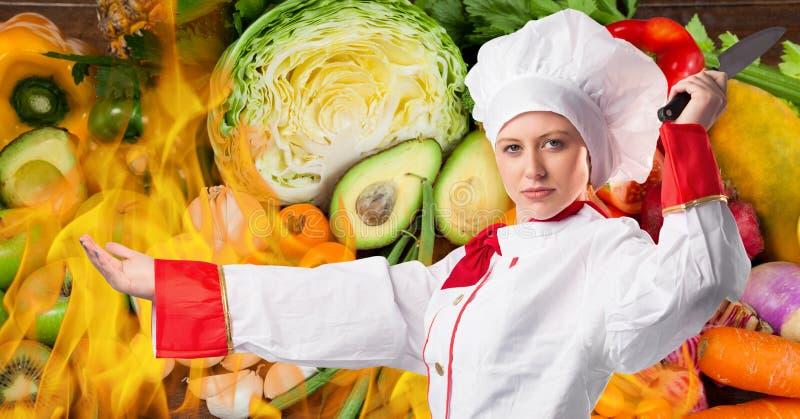 Żeński szefa kuchni mienia noża cyfrowo wytwarzający tło ilustracji