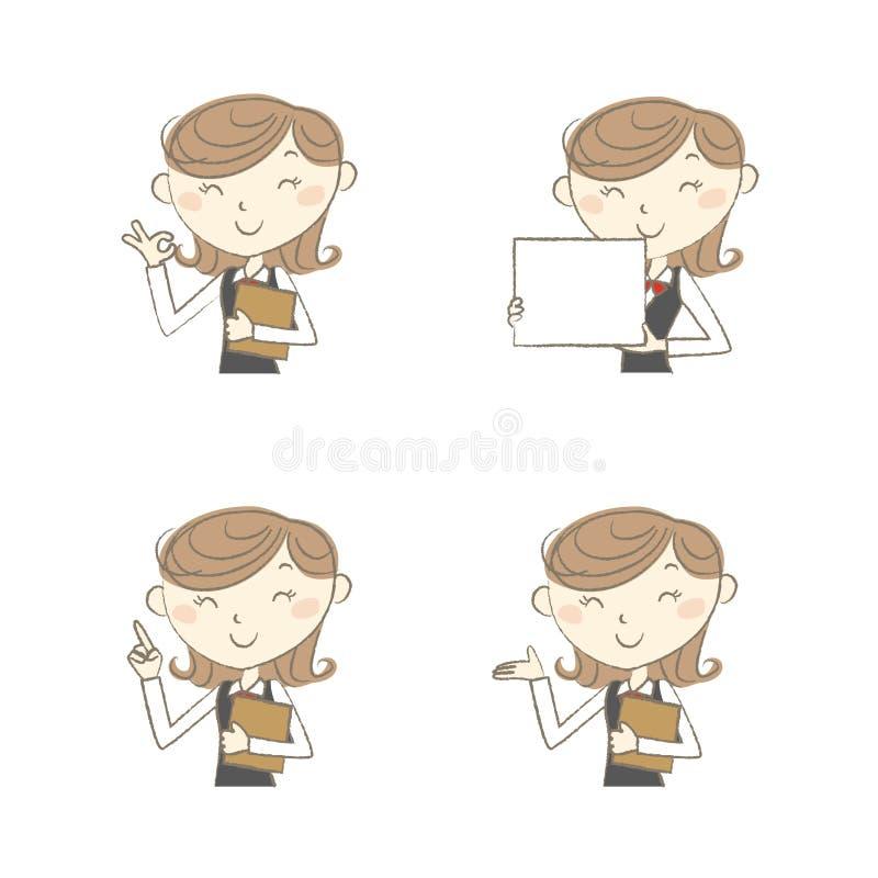 Żeński urzędnik z różnorodnymi pozami ilustracji