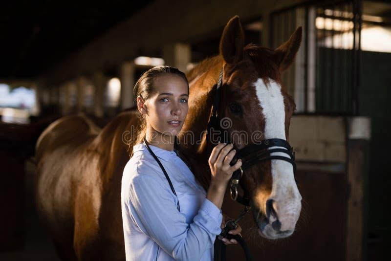 Żeński weterynarza uderzania koń przy stajenką fotografia royalty free