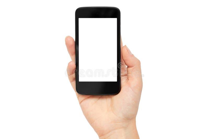 Żeńskie ręki trzymają telefon komórkowego, mockup szablon pojedynczy białe tło zdjęcia stock