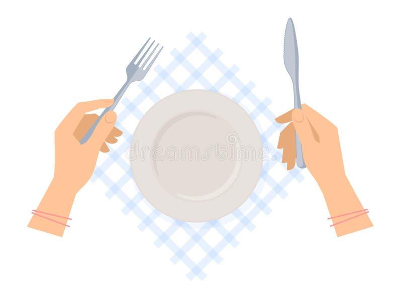 Żeńskie ręki z stalowym rozwidleniem i nożem i opróżniają talerza royalty ilustracja