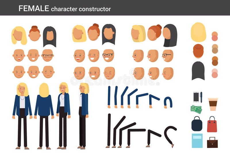 Żeńskiego charakteru konstruktor dla różnych poz royalty ilustracja