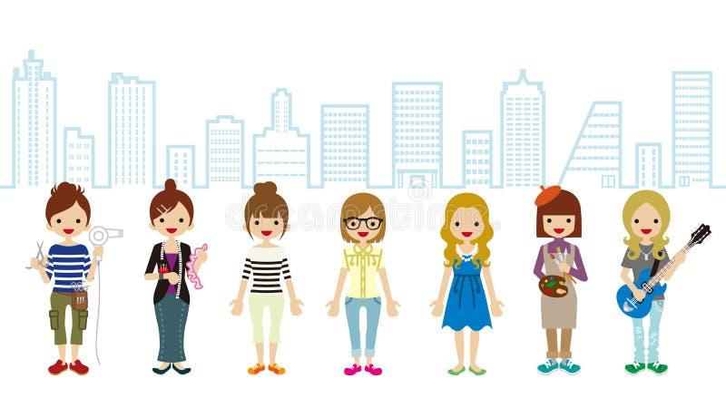 Żeńskiego ucznia i profesjonalisty zajęcia pejzażu miejskiego tło ilustracja wektor