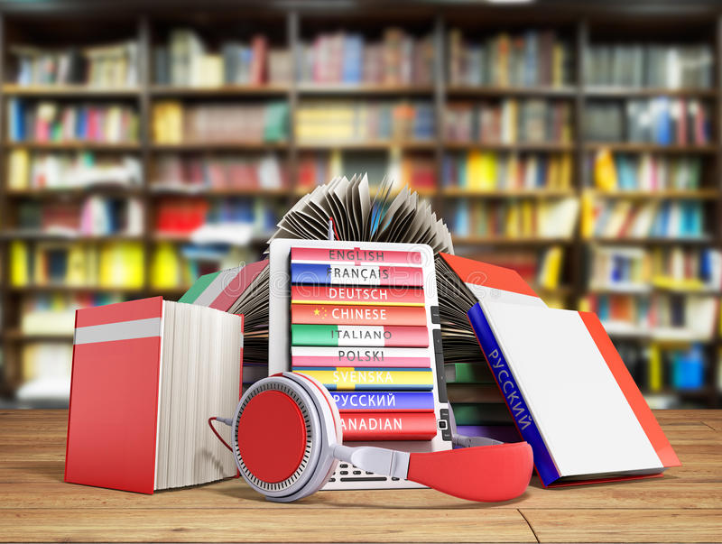 e书音频学会语言的和书3d使图书馆后面 库存例证