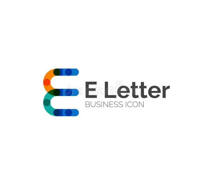 E信件商标,最小的线设计 库存例证