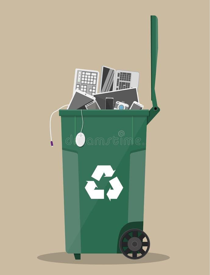 E废物回收站用老电子设备 向量例证