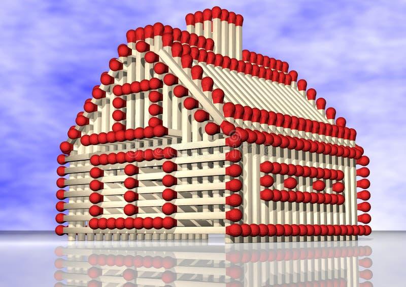 e火题头房子保险符合不动产红色白色 向量例证