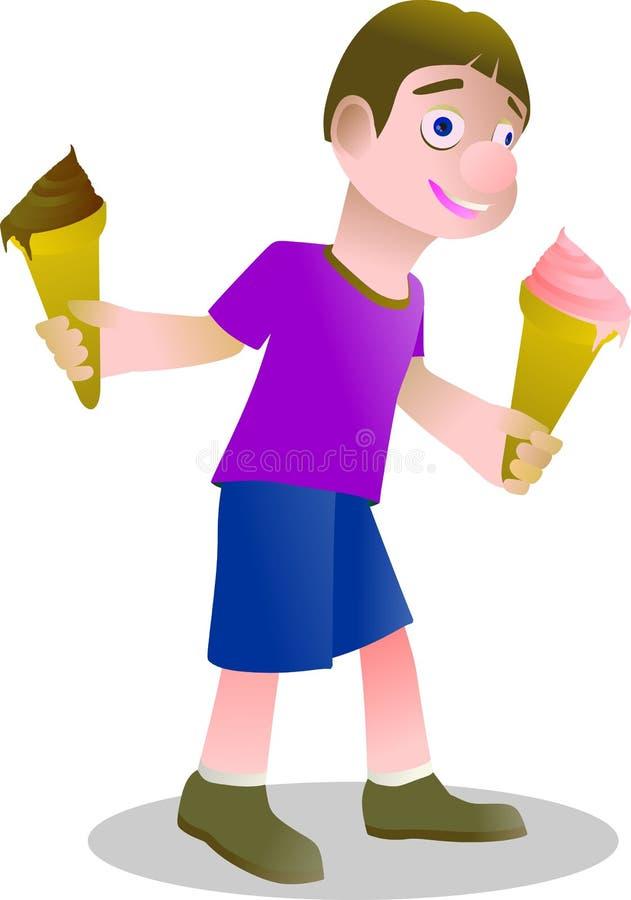 234e男孩享用冰淇凌两个味道 免版税库存图片