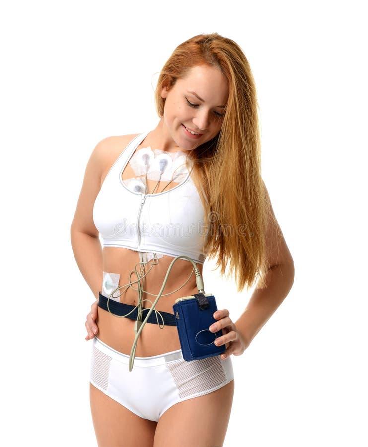 e的每日监视的妇女佩带的holter显示器设备 库存照片