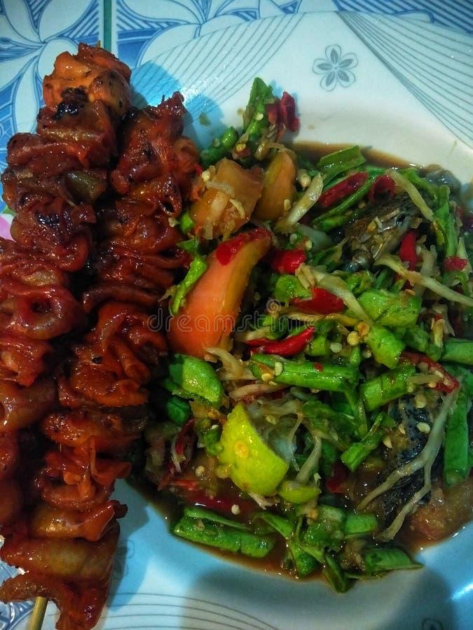 E食物,泰国Lans,面条,烤鸡,普吉岛 免版税库存图片