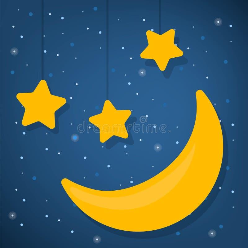 E 晚上好 星形和月亮 库存例证