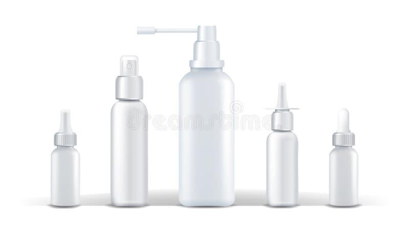 E Écoulement nasal de jet Maquette en plastique blanche de bouteille Conception de marquage à chaud santé Le blanc peut D'isoleme illustration libre de droits